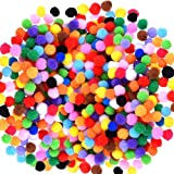 Caydo 2400 Pieces 1cm Assorted Pompoms Multicolor Arts and Crafts Fuzzy Pom Poms Balls for Hobby Supplies
