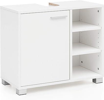 Mueble de Lavabo 60x55x32cm Mueble de baño Blanco con Puerta ...