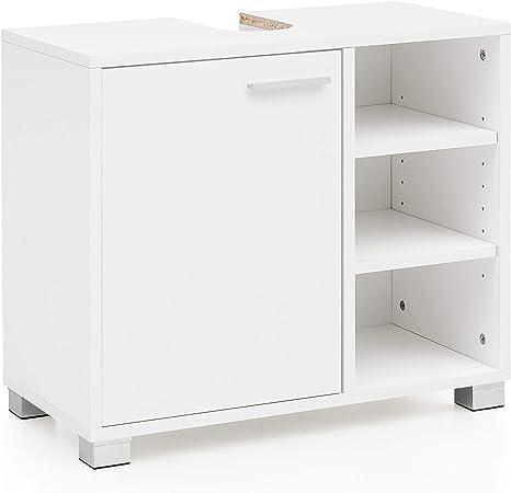 Mueble de Lavabo 60x55x32cm Mueble de baño Blanco con Puerta. Gabinete de Base de Madera del lavamanos del baño. Mueble bajo Lavabo con Compartimentos. Mueble de baño Mueble de baño con Estante: