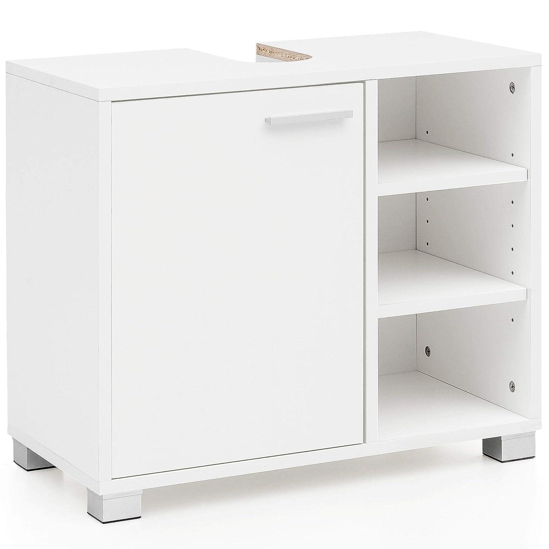 Mueble bajo Lavabo con Compartimentos Mueble de ba/ño Mueble de ba/ño con Estante Mueble de Lavabo 60x55x32cm Mueble de ba/ño Blanco con Puerta Gabinete de Base de Madera del lavamanos del ba/ño
