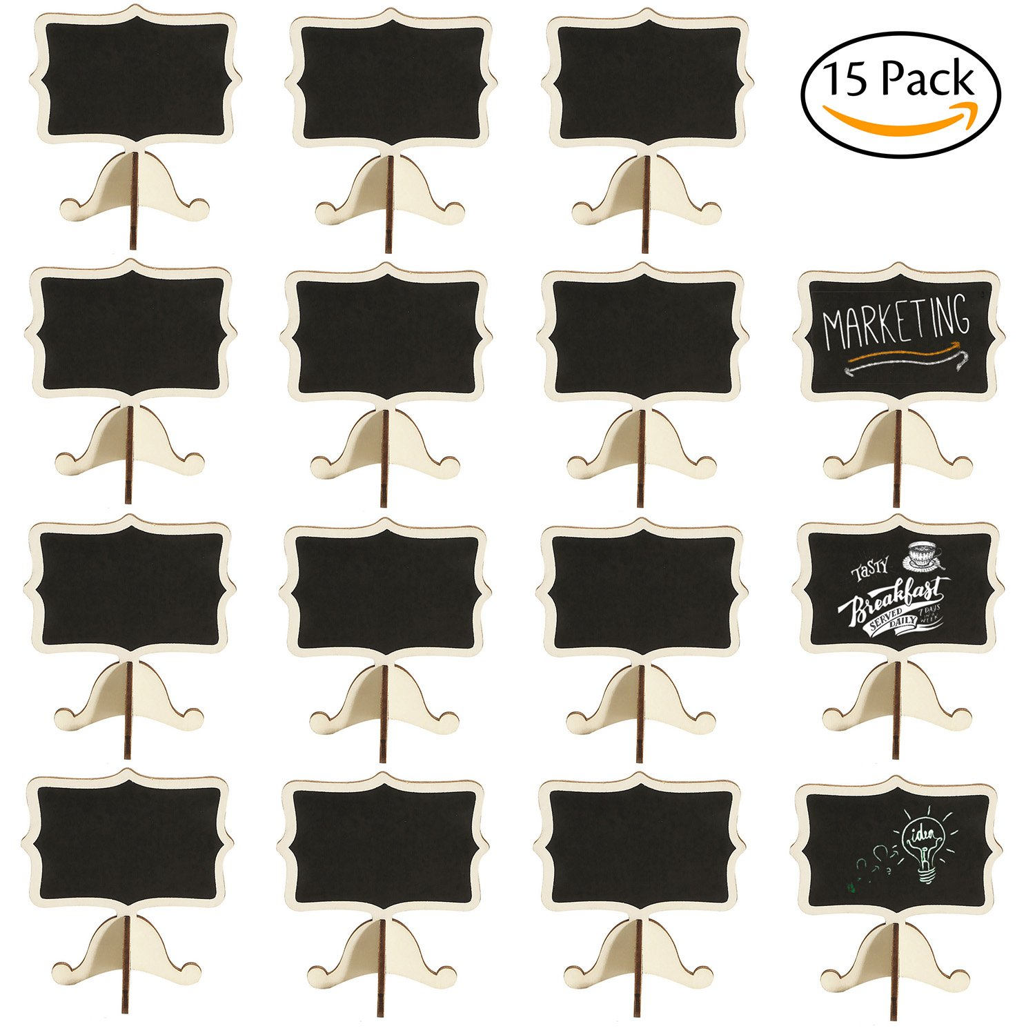 Leyaron 15 Pack Mini Chalkboards Place Cards With Easel Stand   Wood  Rectangle Small Chalkboard Signs