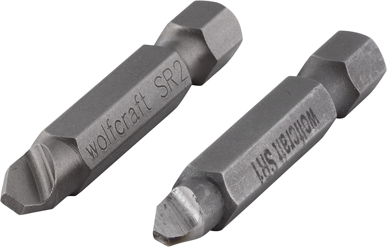 Wolfcraft 2982000 2982000-2 Destornilladores para aflojar Tornillos con roscado defectuoso 1 / T 10 2,5 + 3 SR 2 (PH 2 / PZ 2 / T 15 + 20 / hexágono Interior 4), Set de 2 Piezas