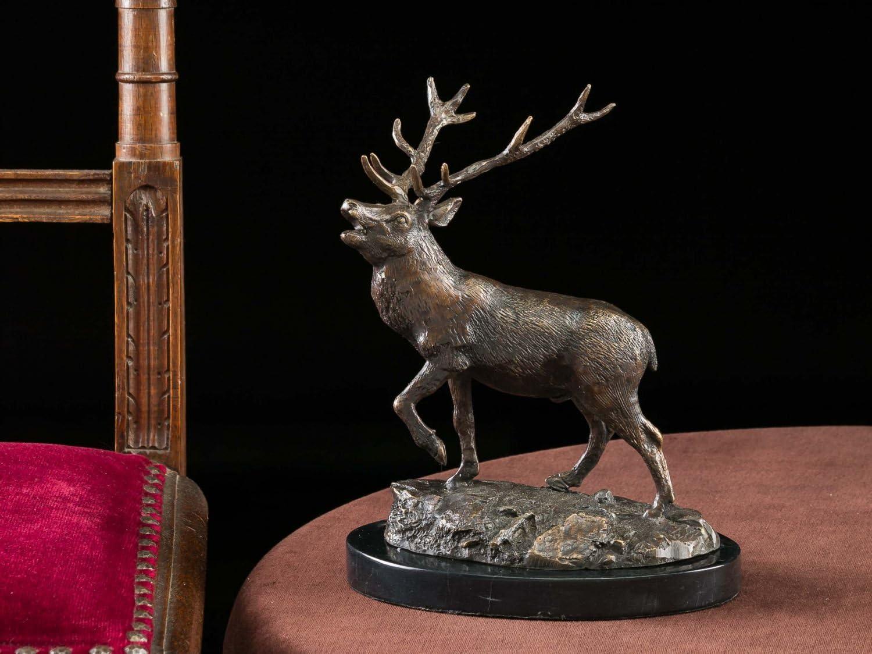 aubaho Bronzeskulptur Hirsch Bronze Jagd J/äger Figur Skulptur 24,5cm Sculpture Deer