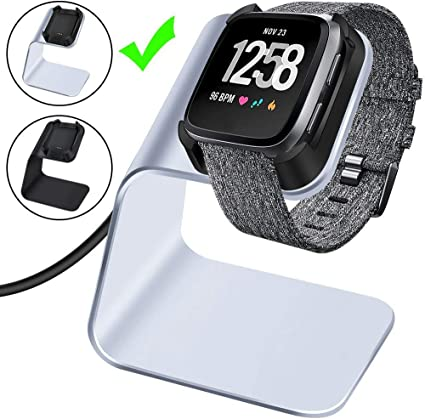 CAVN Charger Dock Compatible with Fitbit Versa/Versa Lite (Not for Versa 2), Premium Aluminum Charging Cable Cord Station Cradle Base Attached 4.2ft ...