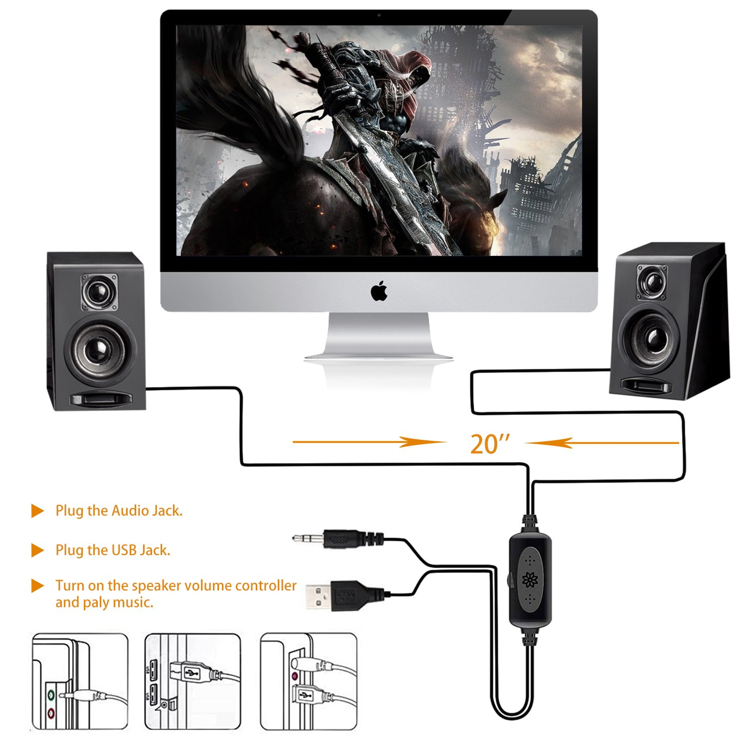 USB Powered Computer Speakers, Wired Stereo Desktop Bookshelf Laptop Speakers with Volume Control Ideal for Notebook, Laptop, PC, Desktop Tablet by Meetuo (Image #6)