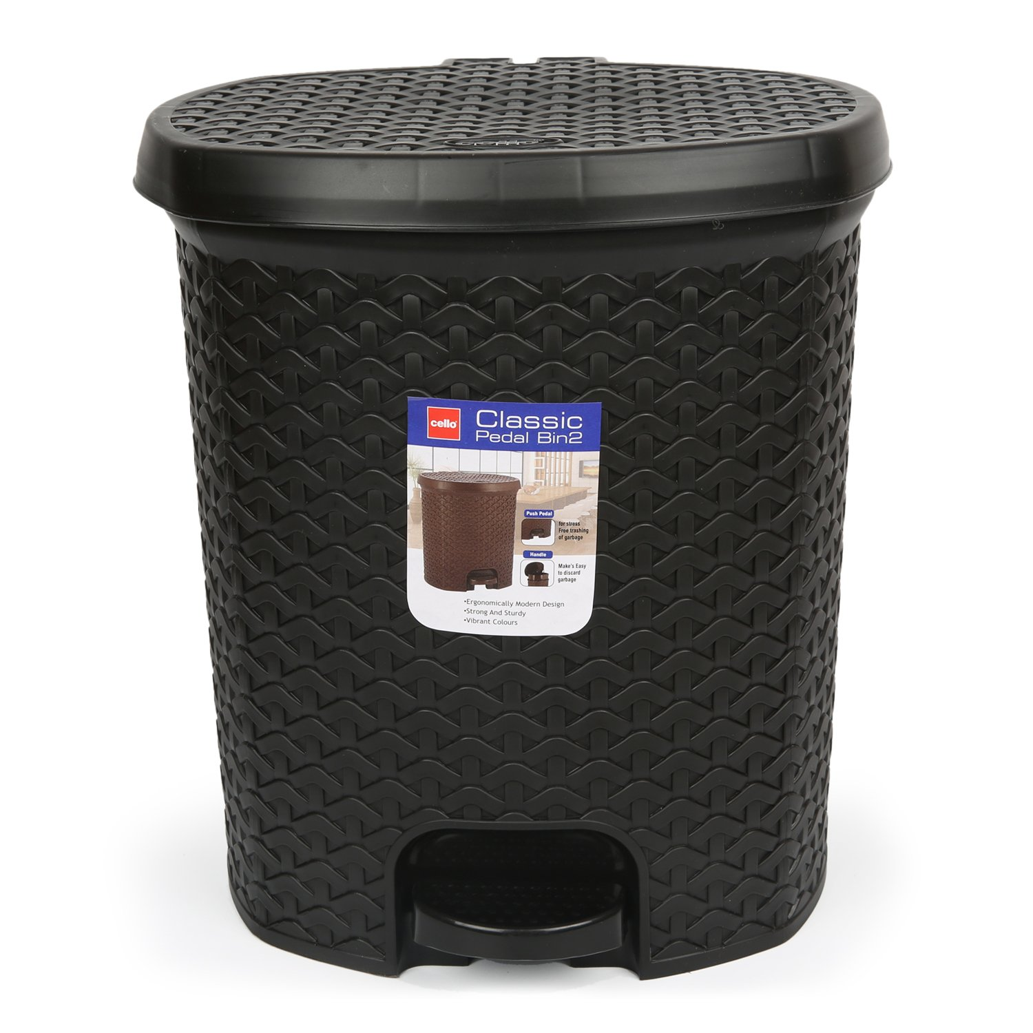 Cello Classic Plastic Pedal Dustbin, 12 Liters, Black