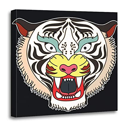 5067363cb Emvency Canvas Prints Square 12x12 Inches Angry Tiger Face Sticker Head  Traditional Tattoo Roaring Animal Black