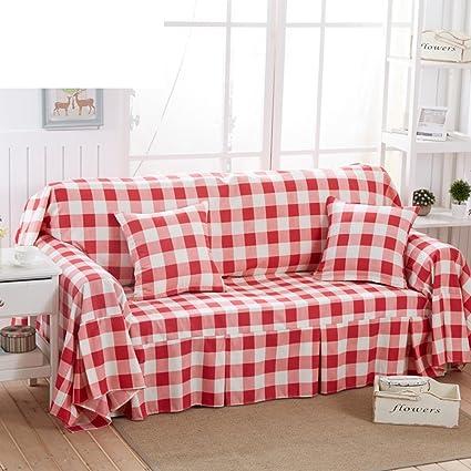 Sofa Cover Red Plaid Sofa Towel Full Cover Sofa Cover Sofa Cushion Pastoral  Sofa Cover
