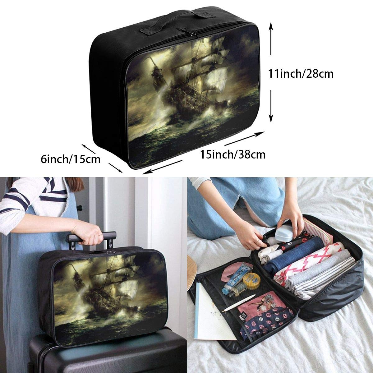 Travel Luggage Duffle Bag Lightweight Portable Handbag Ghost Ship Print Large Capacity Waterproof Foldable Storage Tote
