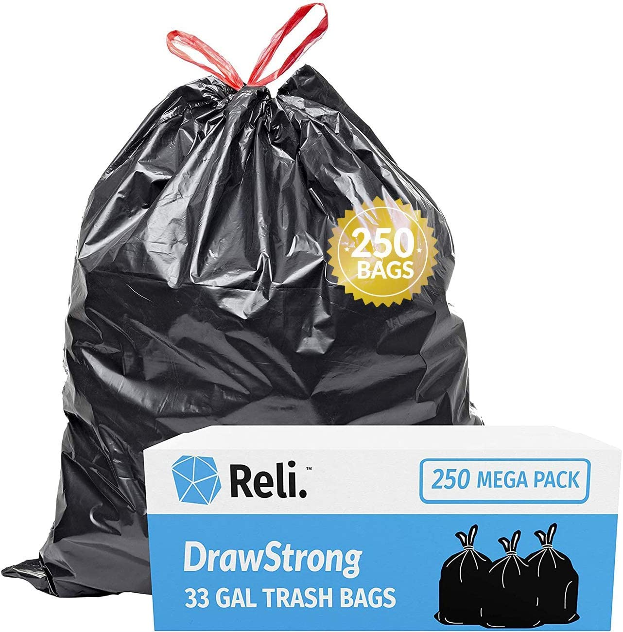 Strong Large Trash//Garbage Bags 30 Gallon, Multipurpose Drawstring Family Pack Unscented