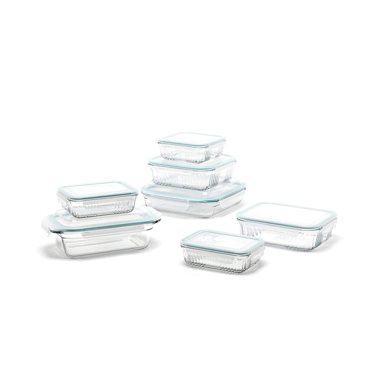 Glasslock Microwave Safe Glass Food Storage Bakeware Containers 14 Piece Set