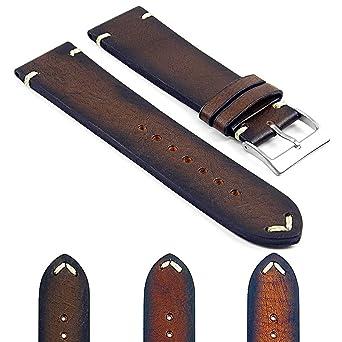 DASSARI Kingwood Italian Leather Hand Finished Vintage Watch Strap  w Minimal Stitching in Brown 18mm 79b6a42f19