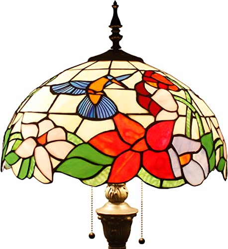 Tiffany Style Floor Standing Lamp W16H64 Inch Tall Stained Glass Hummingbird Design Lampshade 2E26 Antique Reading Light Resin Base S101 WERFACTORY Lamps Bedroom Living Room Bedside Table Lover Gift