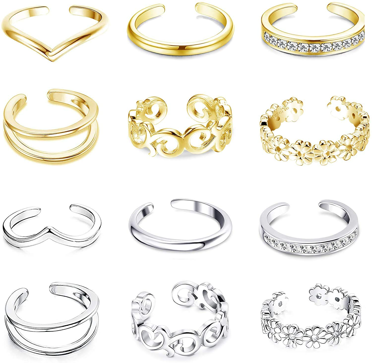 Finrezio 12PCS Toe Ring for Women Open Tail Ring Flower Knot Simple Toe Ring Adjustable Gifts Jewelry Set
