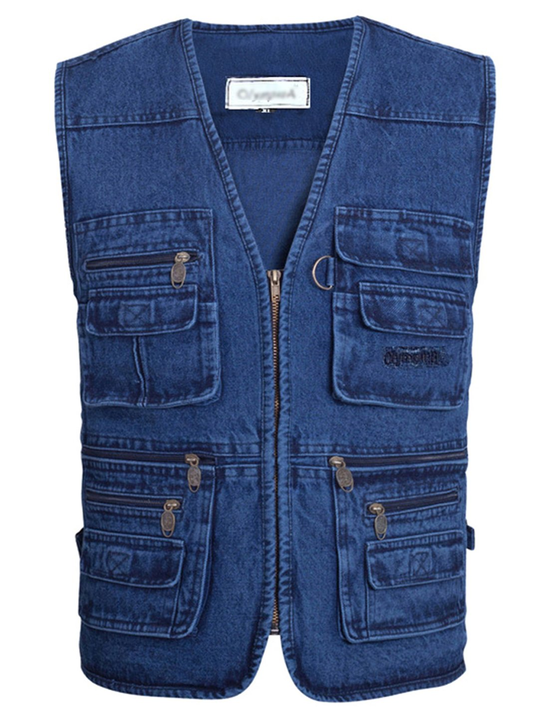 Gihuo Men's Casual Outdoor Leisure Lightweight Pockets Fishing Photo Journalist Denim Vest Plus Size (L, Denim)