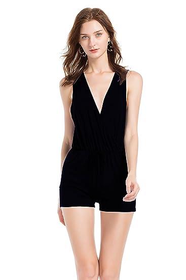 36422bacf7f TYFeng Women s Spaghetti Strap Plain Pocket Sleeveless Summer Beach  Drawstring Short Jumpsuits Rompers (Black
