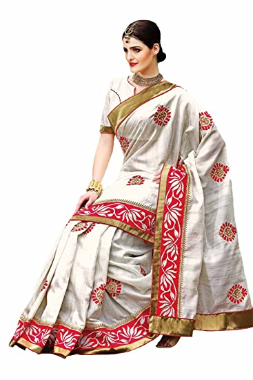 25335d91e5 Samyakk Raw Silk Saree (Sr1774_White): Amazon.in: Clothing & Accessories