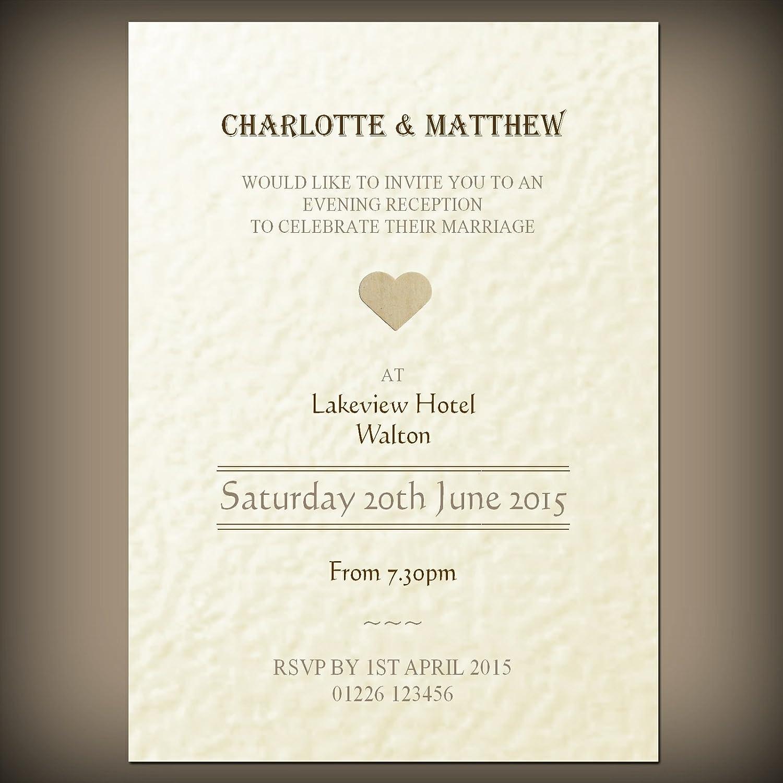 10 Personalised wedding / evening invitations & envelopes, Vintage ...