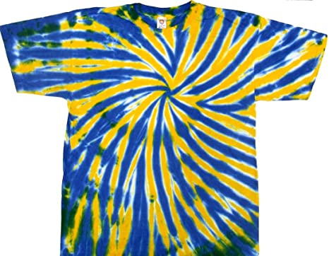 Amazon.com: Tie Dyed Shop Blue and Gold Spiral Tie Dye T Shirt-Small ...