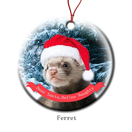 Christmas Ferret.Xmas Ornaments Ceramic Flat Round Snowflakes Santa Dog Ferret Custom Tree Branch Hanging Decoration For Holiday Season