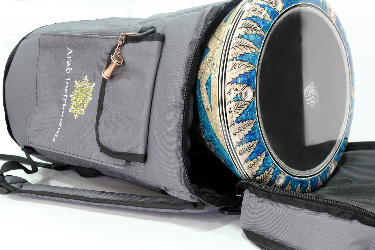 First Class Darbuka / Doumbek Case Bag - Gray + Darbuka Keychain Holder by Arab Instruments