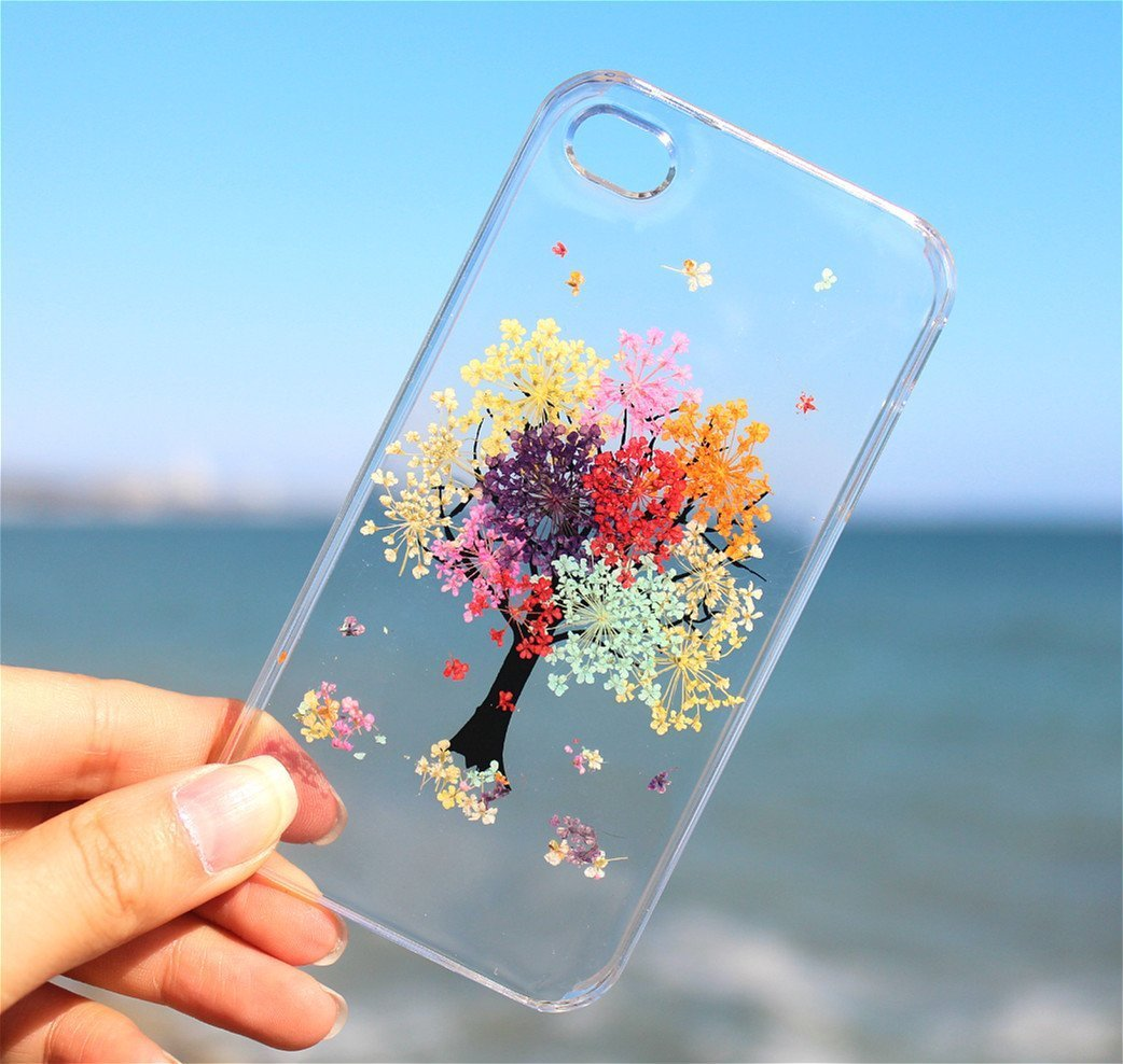iPhone 10 Flower Tree Case - Unique Rainbow Tree Flowers Blossom iPhone 8 Phone Case, iPhone 7 Case, iPhone X Floral Soft Clear Ultra Thin Silicone Rubber Case Cover