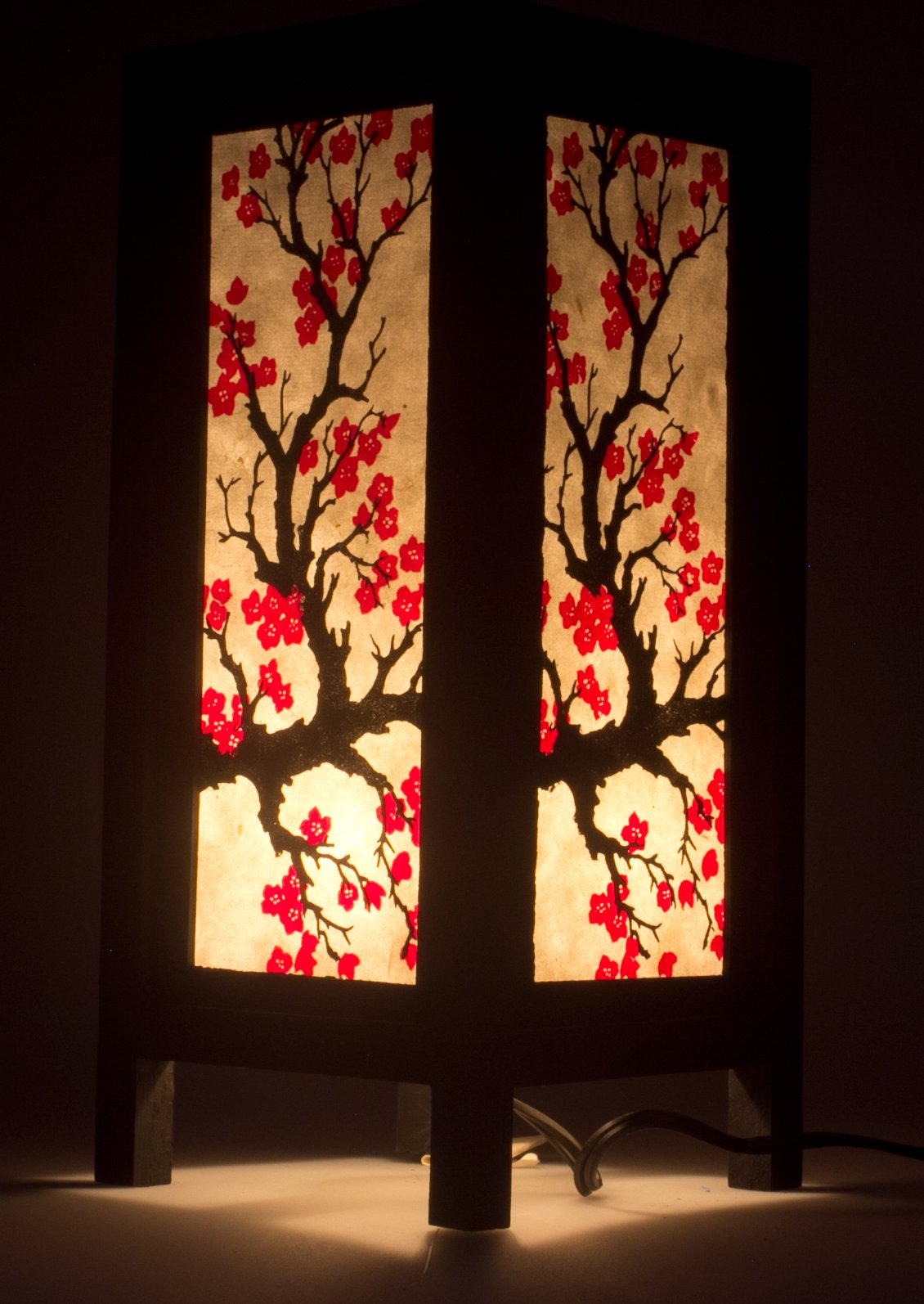 Japanese Sakura Flower Vintage Chiang Mai Thai Saa Paper Lantern Table Lamp xx by Chiang Mai Thai Craft