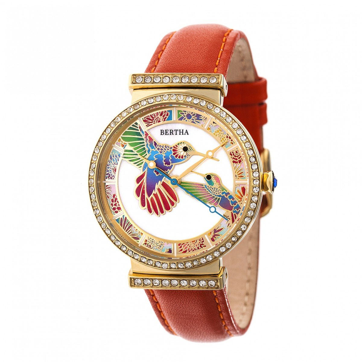 Bertha Emily Mop leather-band腕時計 – ゴールド/オレンジ B077S3NTYM