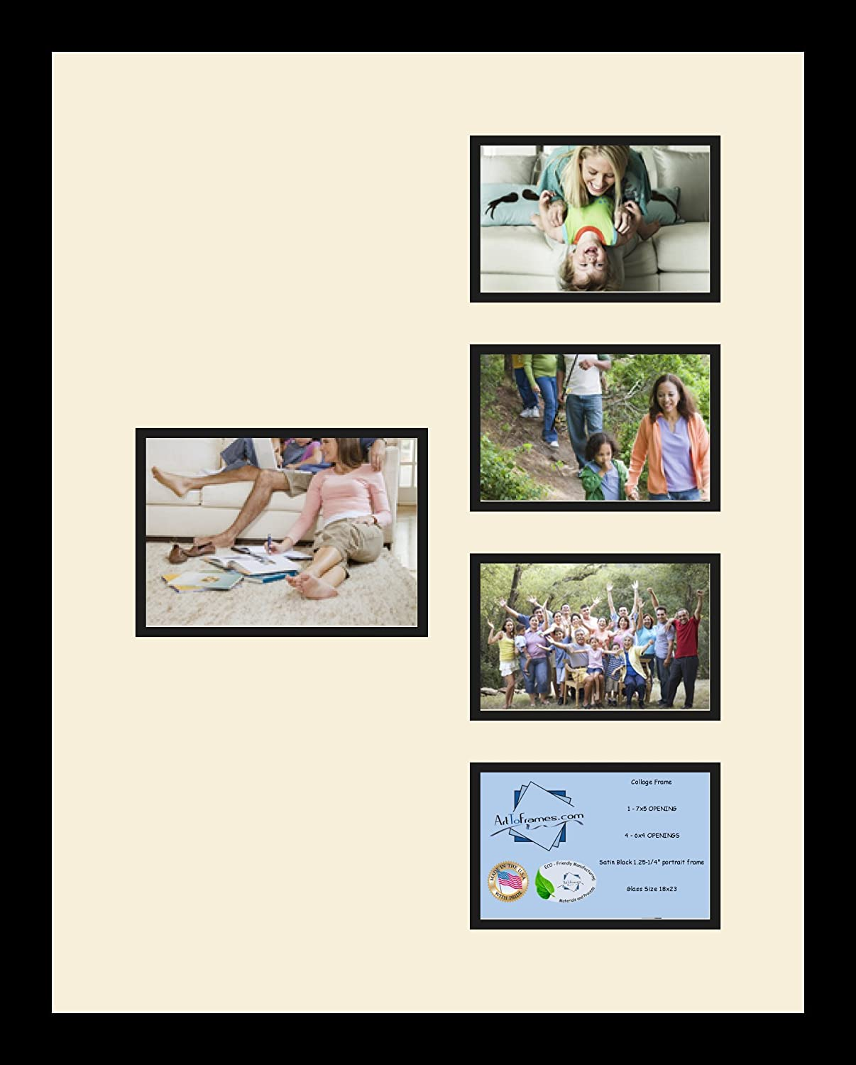 Art to Frames Double-Multimat-325-128//89-FRBW26079 Collage Photo Frame Double Mat with 1-5x7 and 4-4x6 Openings and Satin Black Frame