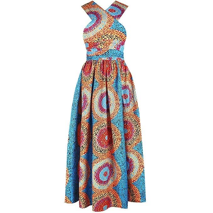 SMILEQ Vestido de Mujer Falda de impresión Digital Africana Sin ...