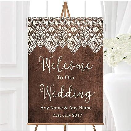 Cartel de boda personalizable con efecto de encaje, estilo ...