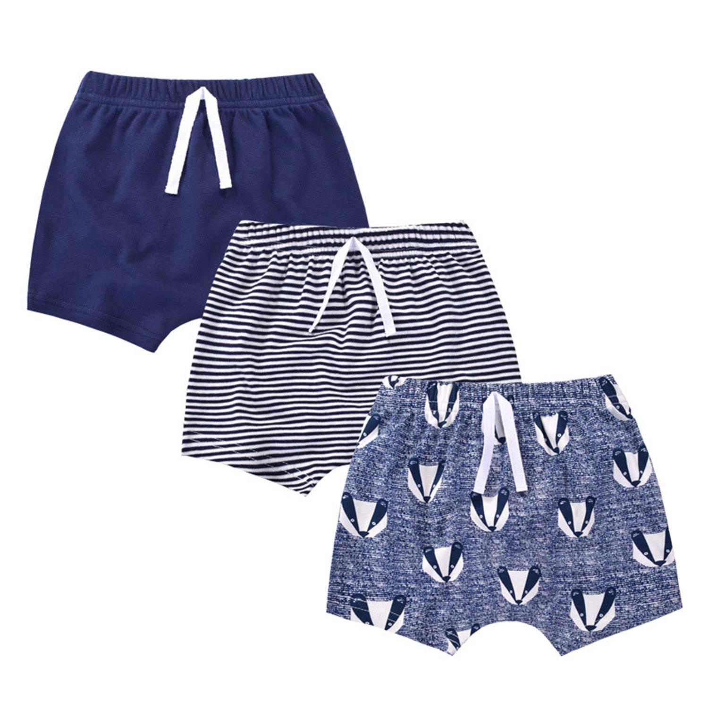 GLMTOU Baby Boys Girls Cotton Shorts 3-Pack Summer Pants Set, Deep Blue,3T