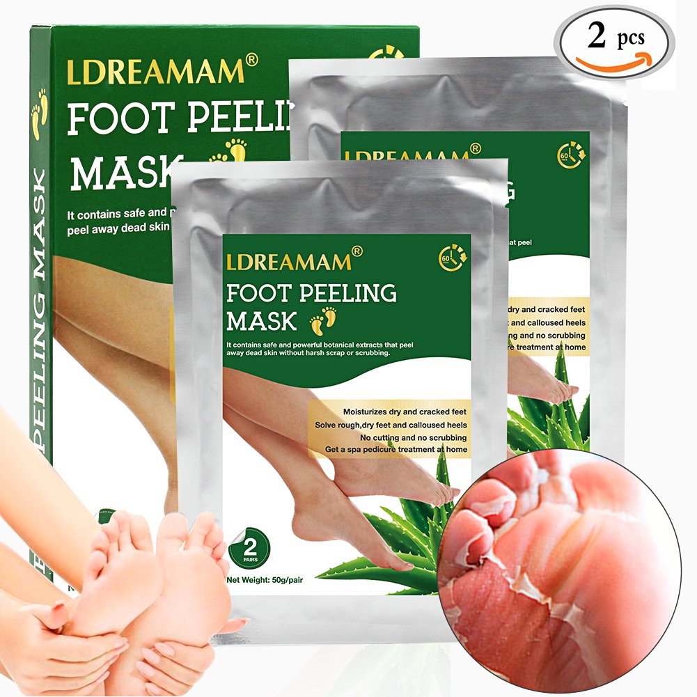Foot Peel Mask,Exfoliating Foot Mask,Peeling away Calluses and Dead Skin Remover,Repair Rough Heels,Make Your Feet Baby Soft,Natural Aloe Extract-2 Pack by LDREAMAM (Image #7)