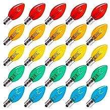 Brightown 25 Pack C7 Replacement Bulbs, Transparent Bulb for Christmas Outdoor String Light, Multi, C7/E12 Candelabra Base, 5 Watt