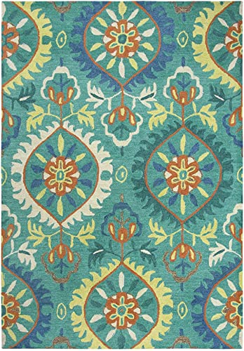 Rizzy Home Handtufted 100 Wool Area Rug, 7 x 10 , Emerald Green Orange Navy Lt. Green