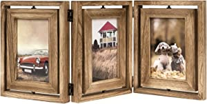 Emfogo 4x6 Picture Frame Rustic Wood Hinged Folding Triple Picture Frames Collage, Double-Sided Display Rotatable High Definition Glass Photo Frame for Home TableTop(Carbonized Black)