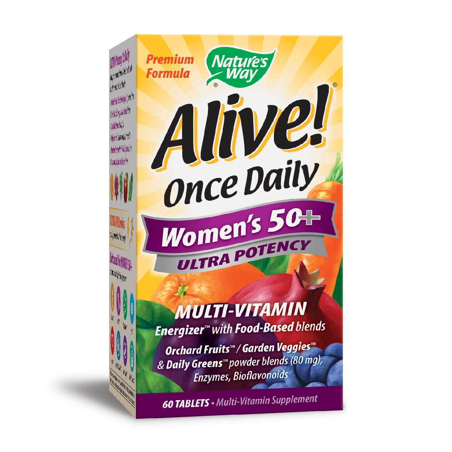 Nature's Way Alive!® Once Daily Women's 50+ Multivitamin, Ultra Potency, Food-Based Blends (230mg per serving), 60 Tablets
