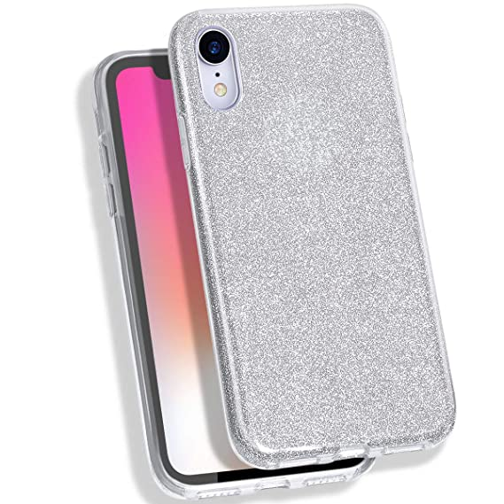 lowest price 504ee 2db29 MATEPROX iPhone XR Case Glitter Slim Shiny Sparkle Crystal Bling Cover Cute  Girls Case for iPhone XR 6.1'' (Silver)