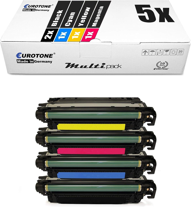 5X Eurotone XXL Remanufactured Toner for HP Color Laserjet cm 3530 FS MFP Replaces CE250X-53A 504A 504X