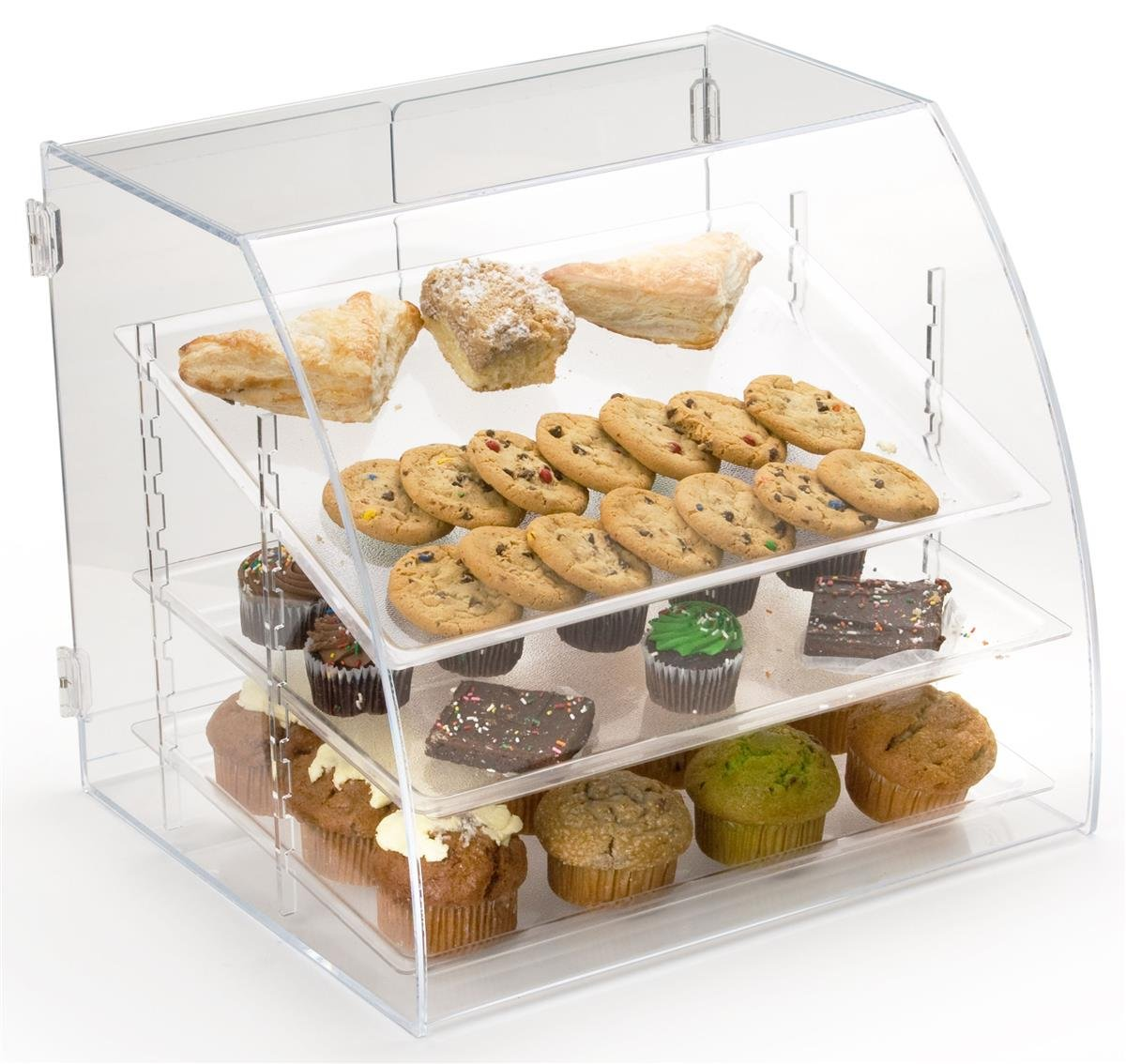 Pastry Display Case with 3 Removable Shelves, Rear Loading - 19''w x 17.5''h x 17.125''d - Clear Acrylic by Displays2go