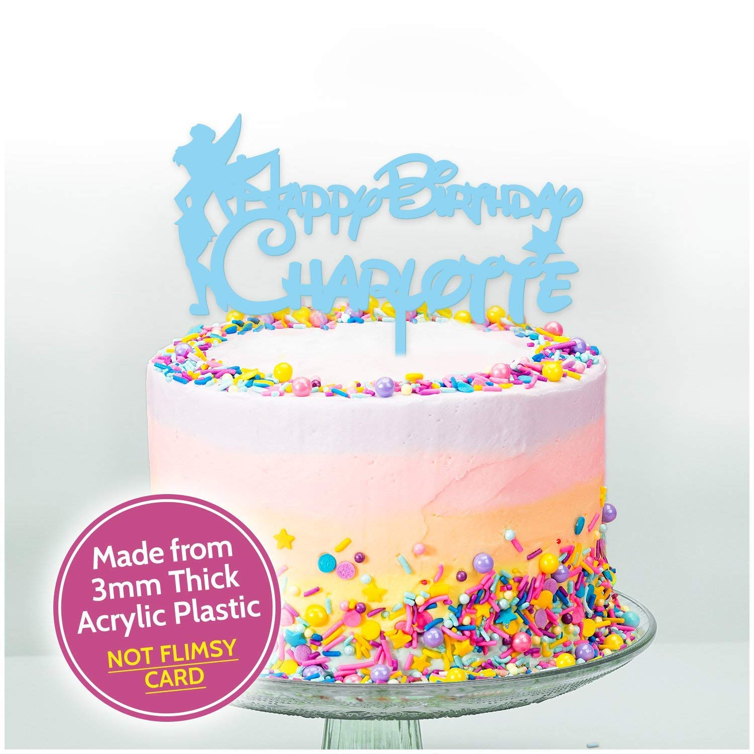 PERSONALISED TINKERBELL GLITTER CARD CAKE TOPPER DECORATION...