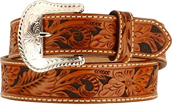 Tony Lama Floral Tooled Leather Belt