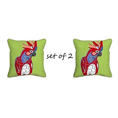 Comfort Classics Inc. Indoor/Outdoor Cockatoo Lime Throw Pillow (Set of 2) 17x17x2 : Garden & Outdoor