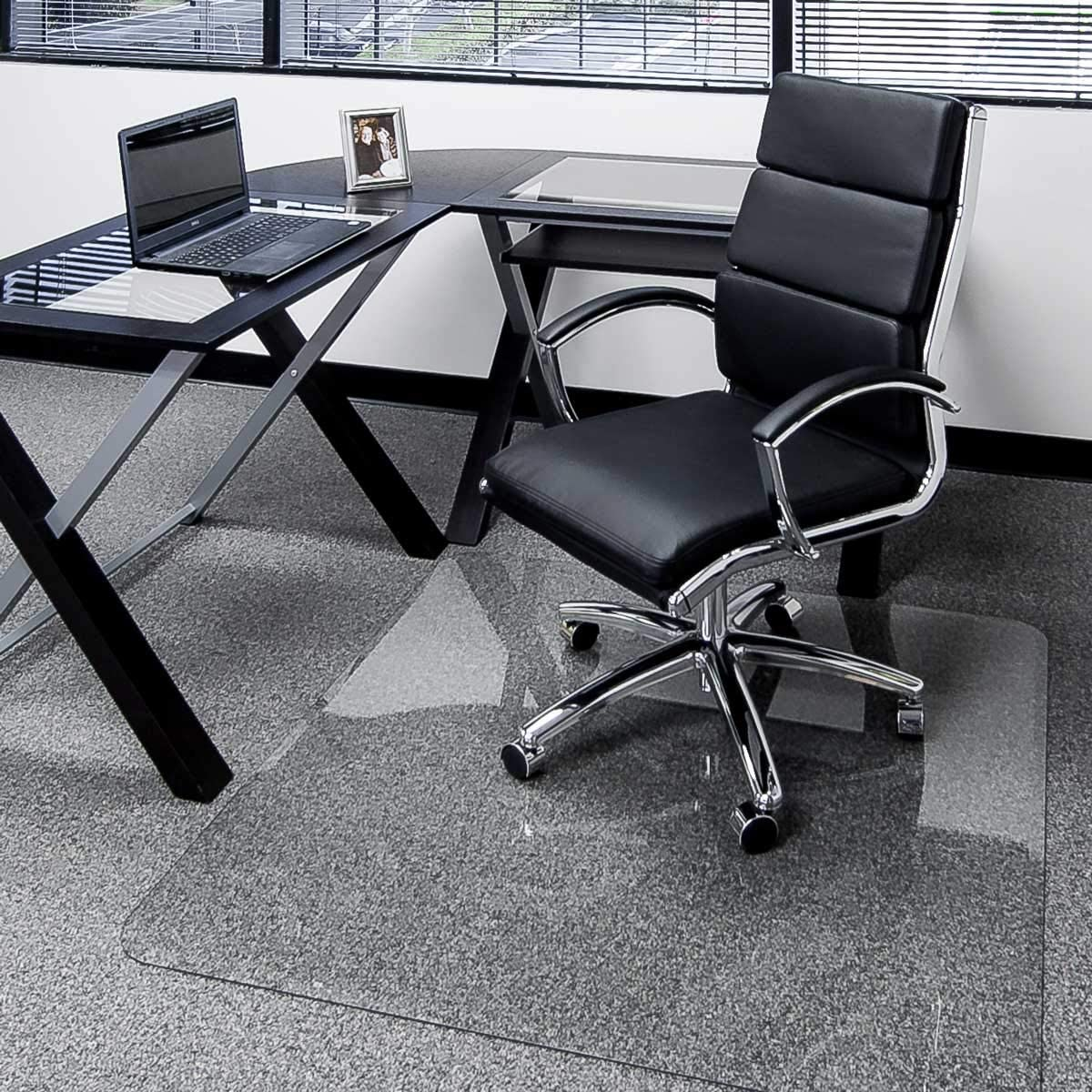 Clearly Innovative Glass Chair Mat with Beveled Edge, 34 x 39 , 1 4 Thick Clear Tempered Glass with Easy Roll Beveled Edges Protect Your Home or Office Floor