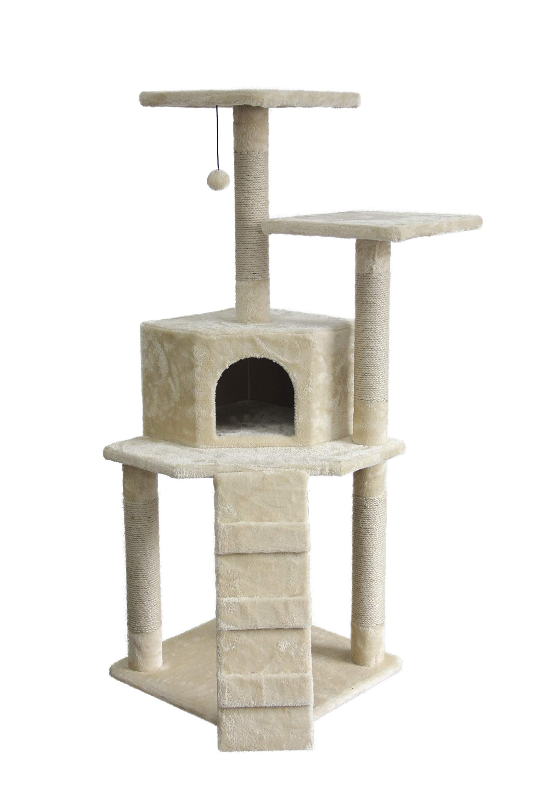 AmazonBasics Small Cat Tree Tower with Cave And Scratching Post - Beige by AmazonBasics