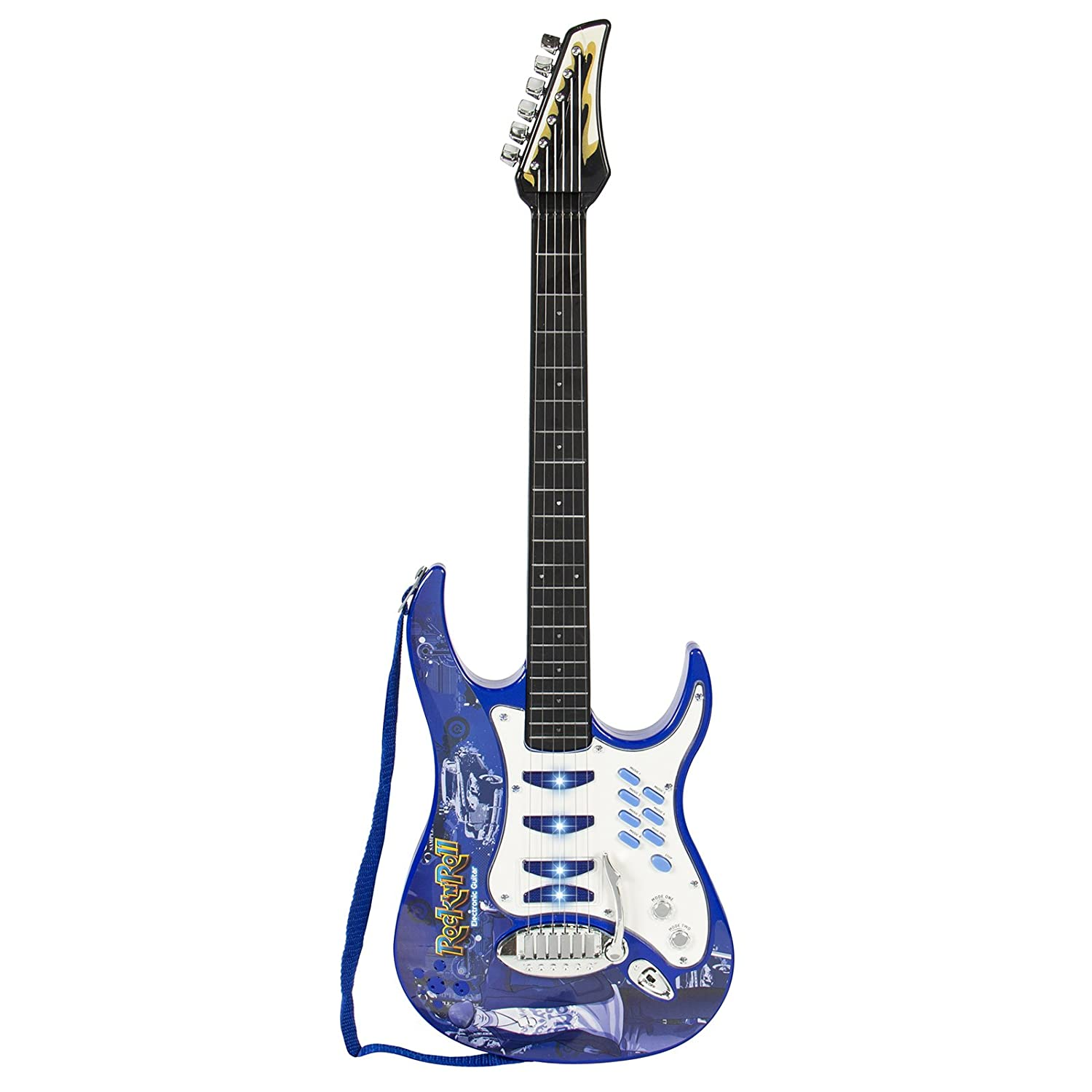 amazon com best choice products kids electric musical guitar toyamazon com best choice products kids electric musical guitar toy play set w 6 demo songs, whammy bar, microphone, amp, aux blue toys \u0026 games