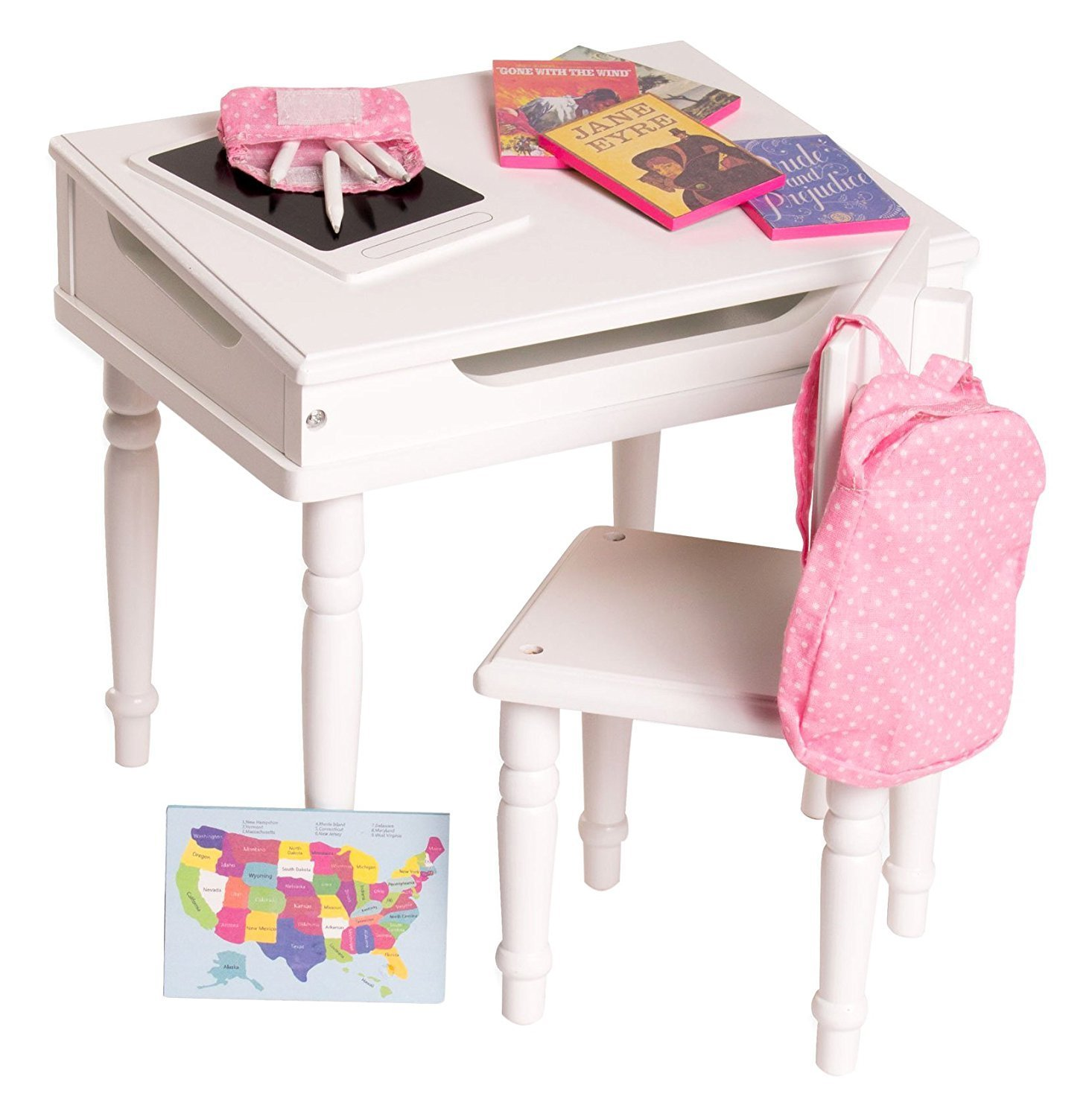 18 Inch Doll Furniture Desk and Chair Set - Classroom Accessories Included - Playtime by Eimmie Collection 34047
