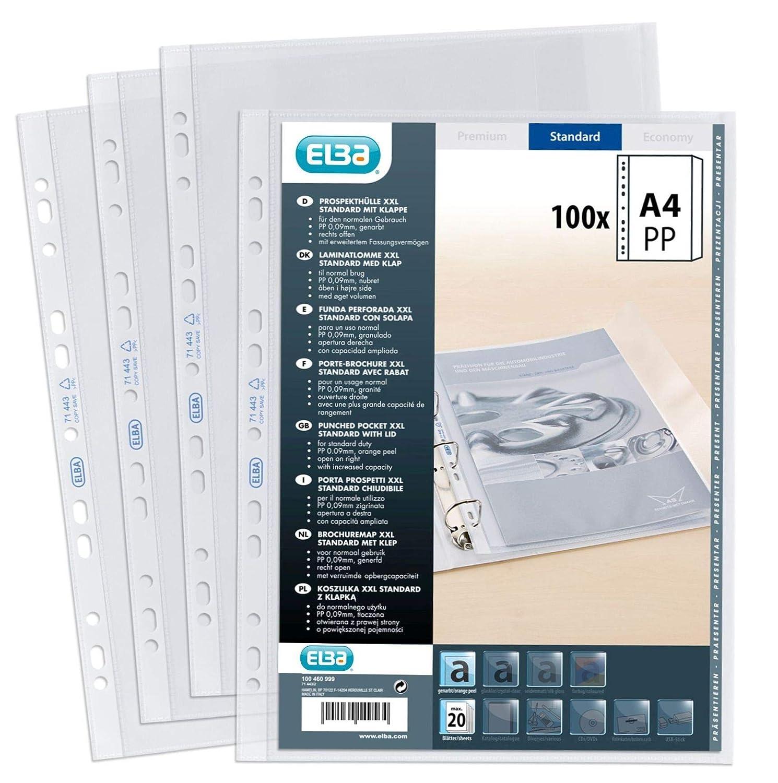 Elba archivo 100460999 bolsillo para A4 con película PP capacidad ampliable sin reflejos, grano y einschlagbarer solapa, XXL, 100 piezas: Amazon.es: Oficina ...
