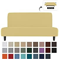 Easy-Going Stretch Futon Slipcover Armless Sofa Cover Furniture Protector Without Armrests Slipcover Soft with Elastic Bottom for Kids, Spandex Jacquard Fabric Small Checks(futon,Beige)