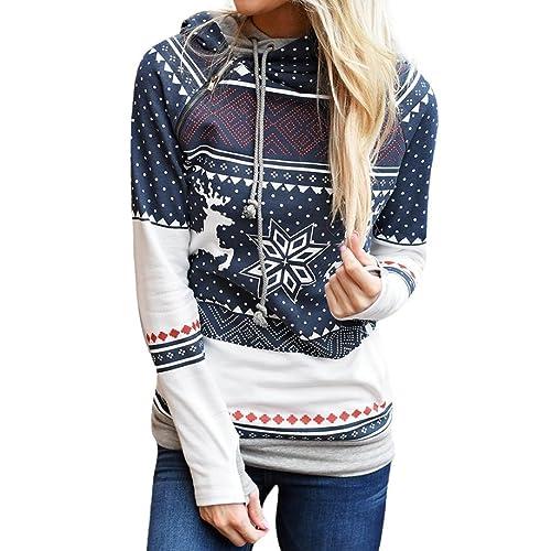 Internet Christmas Women Zipper Dots Tops con capucha Sudadera con capucha Pullover Blouse camiseta